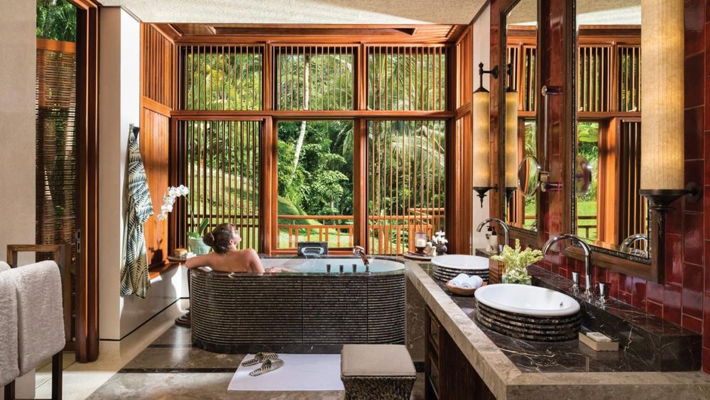 Badezimmer, Four Seasons Bali at Sayan, Ubud, Indonesien Flitterwochen